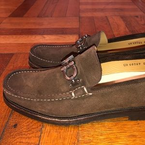 Salvatore Ferragamo Brown Suede Loafers